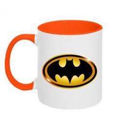 Кружка двухцветная Batman logo Gold - FatLine