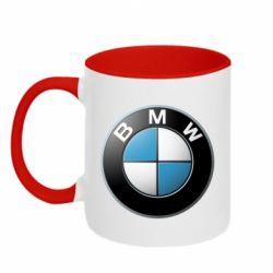 Кружка двухцветная BMW Logo 3D - FatLine