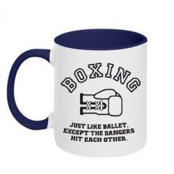 Кружка двухцветная Boxing just like ballet - FatLine