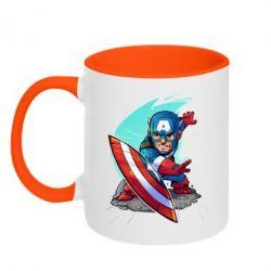 Кружка двухцветная Cartoon Captain America