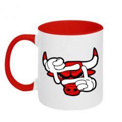 Кружка двухцветная Chicago Bulls бык - FatLine