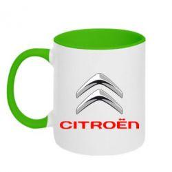 Кружка двухцветная Citroen лого - FatLine