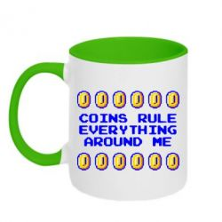 Кружка двухцветная Coins rule everything around me - FatLine