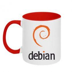 Кружка двухцветная Debian - FatLine