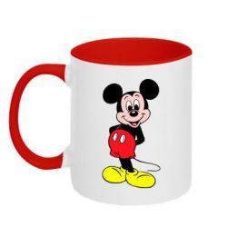 Кружка двухцветная Довольный Микки Маус - FatLine
