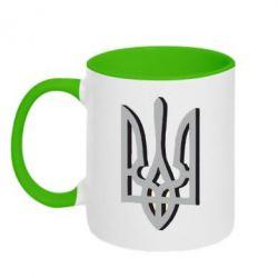 Кружка двоколірна 320ml Двокольоровий герб України