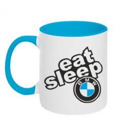 Кружка двоколірна 320ml Eat, sleep, BMW