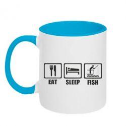 Кружка двоколірна 320ml Eat, sleep, fish