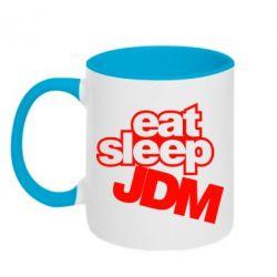Кружка двухцветная Eat sleep JDM - FatLine