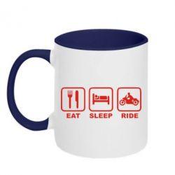 Кружка двухцветная Eat, sleep, ride - FatLine