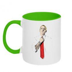 Купить Кружка двухцветная Eminem в галстуке, FatLine