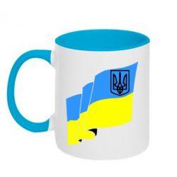 Кружка двухцветная Флаг Украины с Гербом - FatLine