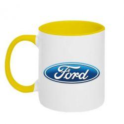 Кружка двухцветная Ford 3D Logo - FatLine