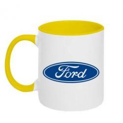Кружка двухцветная Ford Logo - FatLine