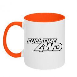 Кружка двухцветная Full time 4wd - FatLine