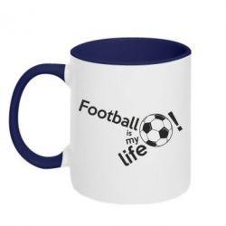Кружка двоколірна 320ml Футбол - моє життя!
