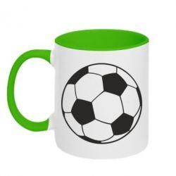 Кружка двухцветная Футбольный мяч - FatLine