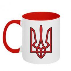 Кружка двухцветная Герб України (двокольоровий) - FatLine
