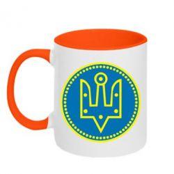 Кружка двухцветная Герб України у колі - FatLine