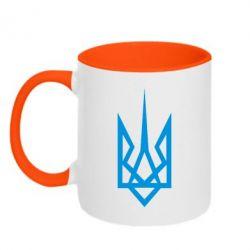 Кружка двухцветная Герб України загострений - FatLine