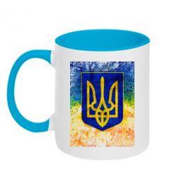 Кружка двухцветная Герб Украины цвет
