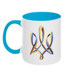 Кружка двухцветная Герб Украины Лента - FatLine