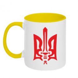Кружка двухцветная Герб з мечем - FatLine