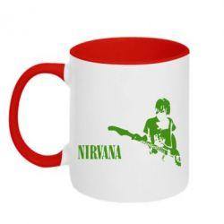 Кружка двухцветная Гитарист Nirvana