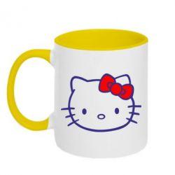 Кружка двухцветная Hello Kitty logo - FatLine