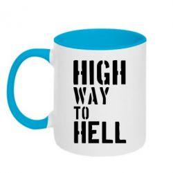 Кружка двухцветная High way to hell - FatLine