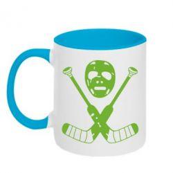 Кружка двухцветная Хоккейная маска - FatLine