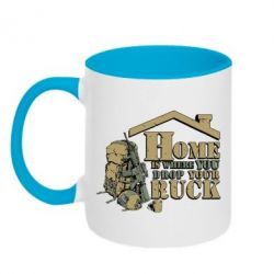 Кружка двухцветная Home is where you drop your ruck - FatLine