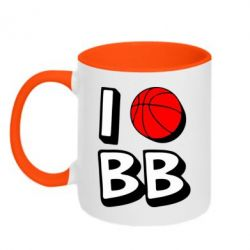 Кружка двухцветная I love basketball - FatLine