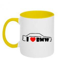 Кружка двухцветная I love BMW - FatLine