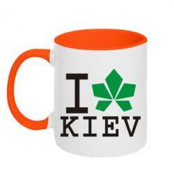 Кружка двухцветная I love Kiev - с листиком - FatLine