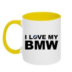 Кружка двухцветная I love my BMW - FatLine