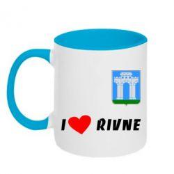 Кружка двухцветная I love Rivne - FatLine