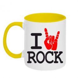 Кружка двухцветная I love rock - FatLine