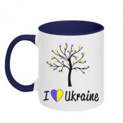 Кружка двухцветная I love Ukraine дерево - FatLine