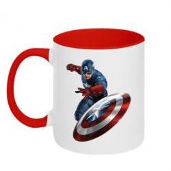 Кружка двухцветная Капитан Америка - FatLine