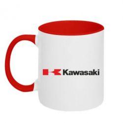 Кружка двухцветная Kawasaki Logo - FatLine