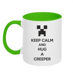 Кружка двухцветная KEEP CALM and HUG A CREEPER - FatLine