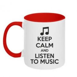 Кружка двухцветная KEEP CALM and LISTEN TO MUSIC - FatLine