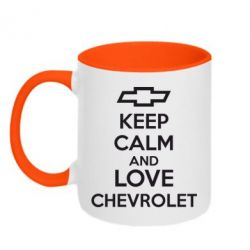 Кружка двухцветная KEEP CALM AND LOVE CHEVROLET - FatLine