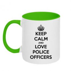 Кружка двухцветная Keep Calm and Love police officers - FatLine