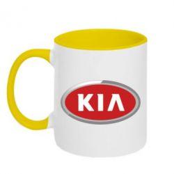Кружка двухцветная KIA Logo 3D - FatLine