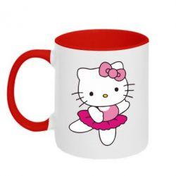 Кружка двухцветная Kitty балярина - FatLine
