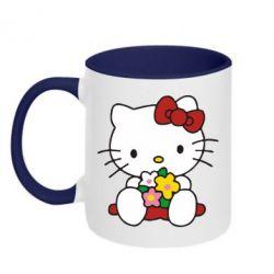 Кружка двухцветная 320ml Kitty с букетиком