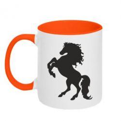 Кружка двухцветная Конь - FatLine