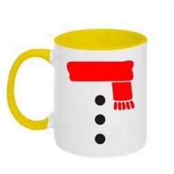 Кружка двухцветная Костюм снеговика - FatLine